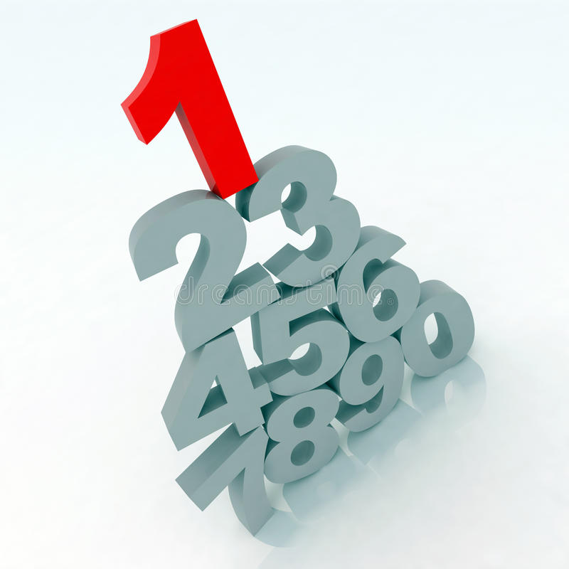 3d numbers. 3d gray numbers with one red vector illustration