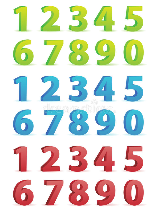 3D Numbers Set. A set of three dimensional numbers in various colors vector illustration