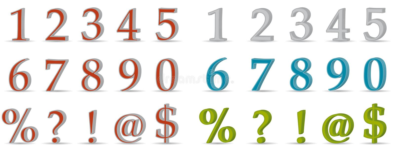 Download 3D numbers and symbols stock vector. Illustration of numeric - 18316996