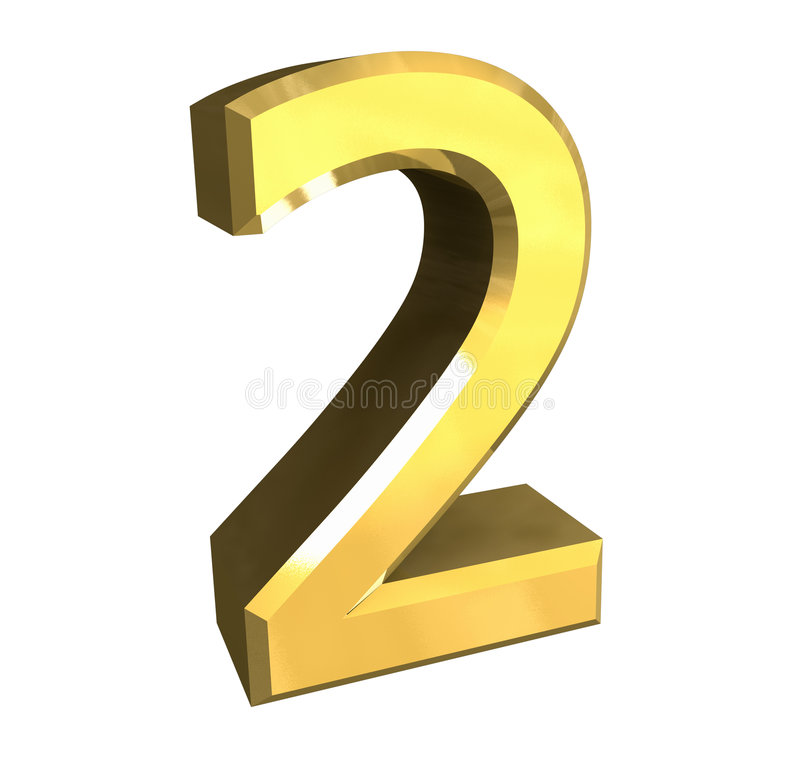3d nummer 2 in goud royalty-vrije illustratie