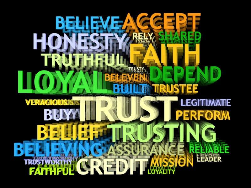 3d obłoczny s zaufania słowo royalty ilustracja