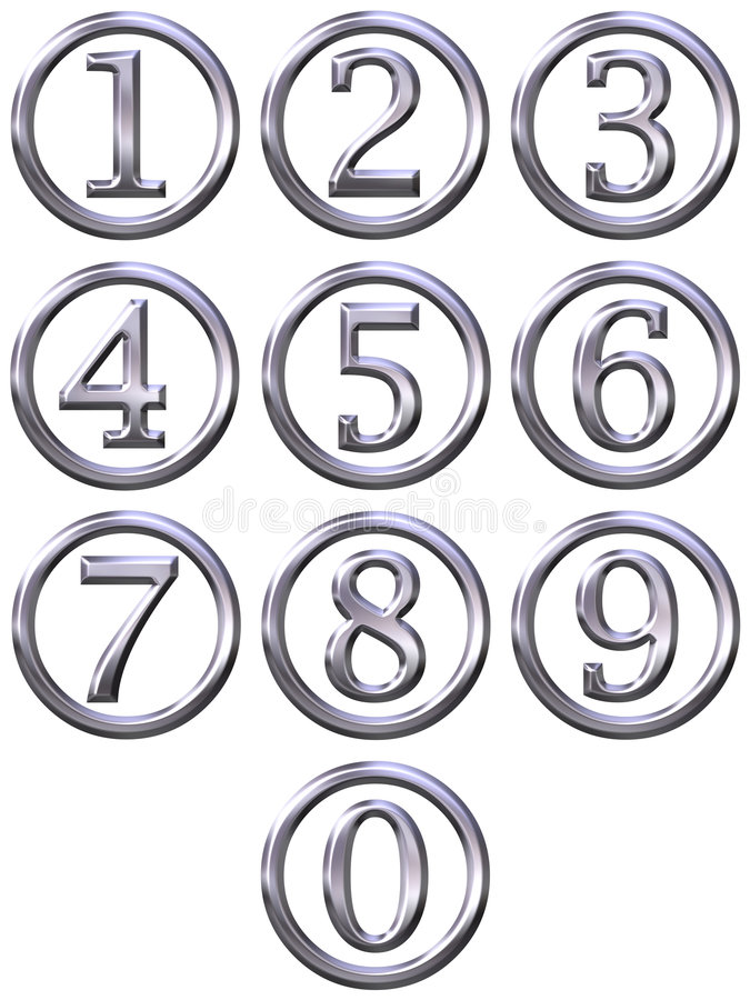 3d obramiający liczb srebro ilustracja wektor