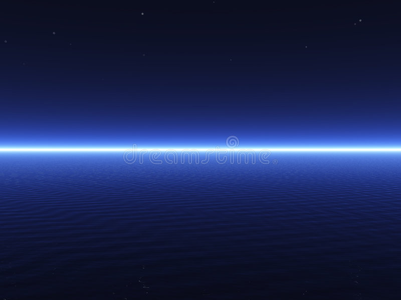 3D obscuridade - mar azul imagem de stock