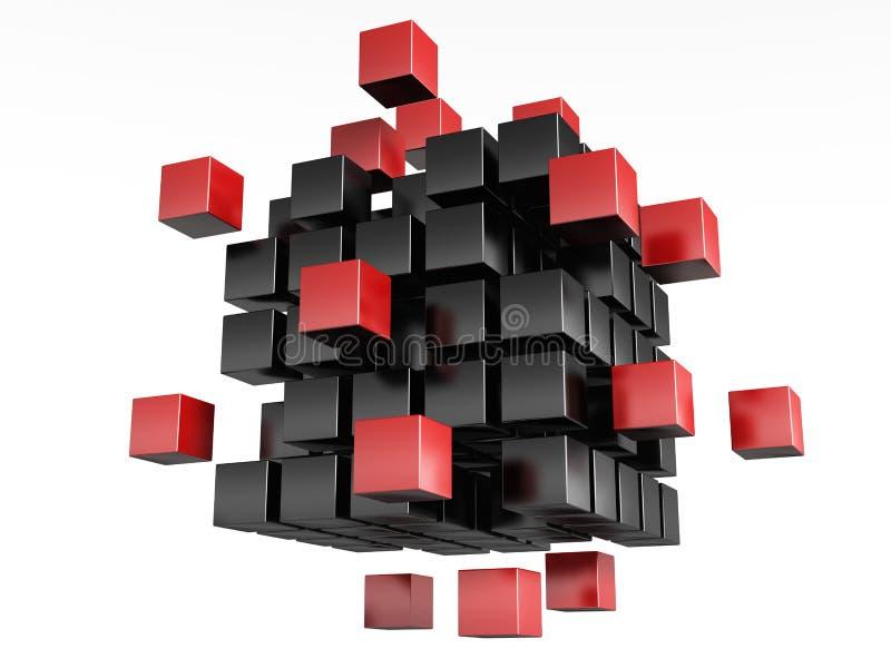 3d obstrui a cor vermelha e preta. ilustração do vetor