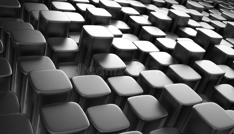 3D obstrui o fundo abstrato metálico fotos de stock