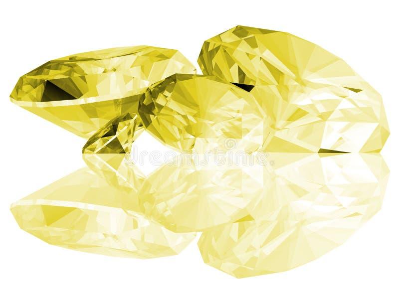 3d odizolowywający citrine klejnoty ilustracji