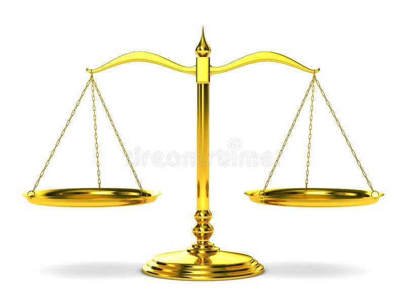 3d odosobniona tło sprawiedliwość waży biel royalty ilustracja