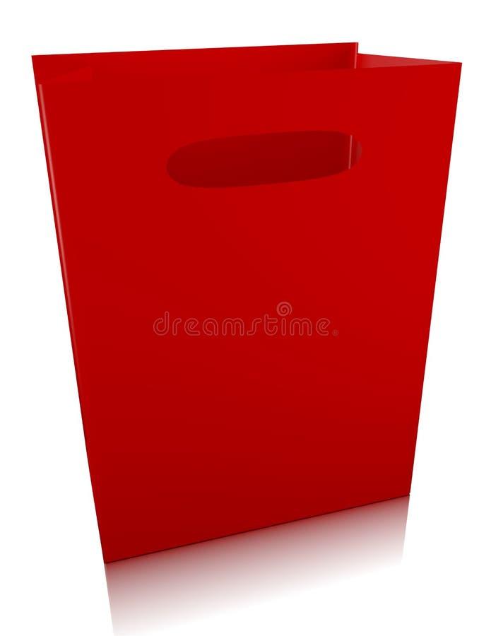 3d Odpłacają się Czerwony Torba Na Zakupy ilustracji