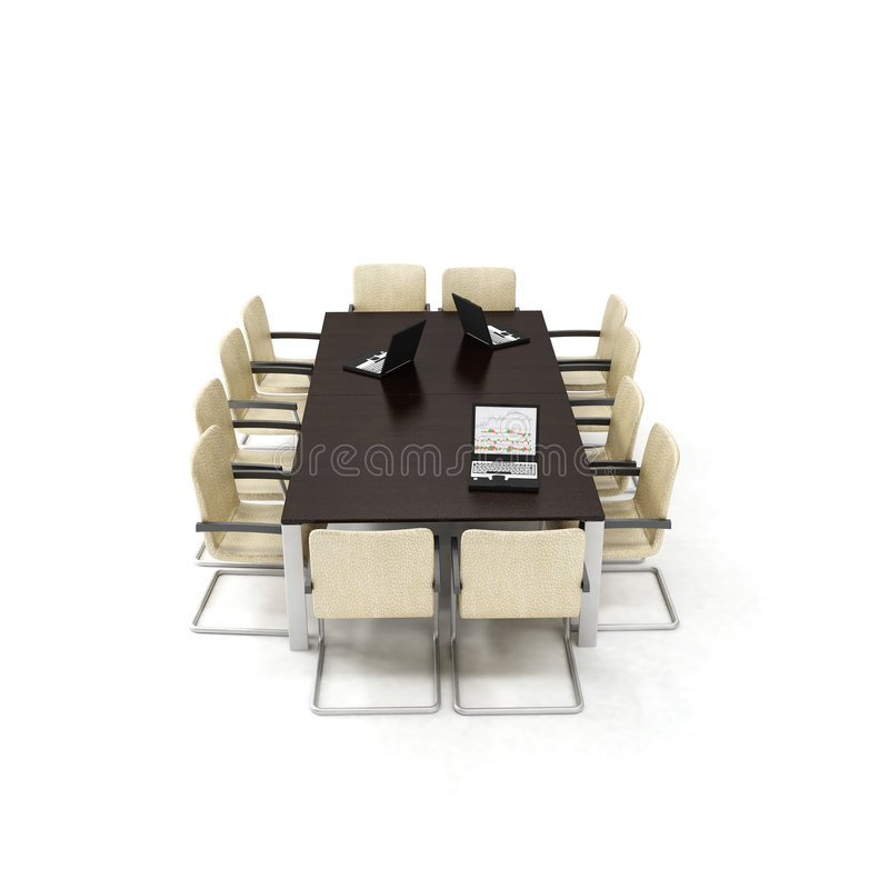 3d office meeting room. 3d modern office meeting room interior royalty free stock photos