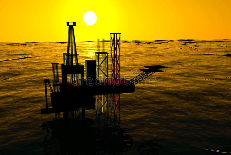 3d Oil Rig Silhouette, Ocean and Sunset