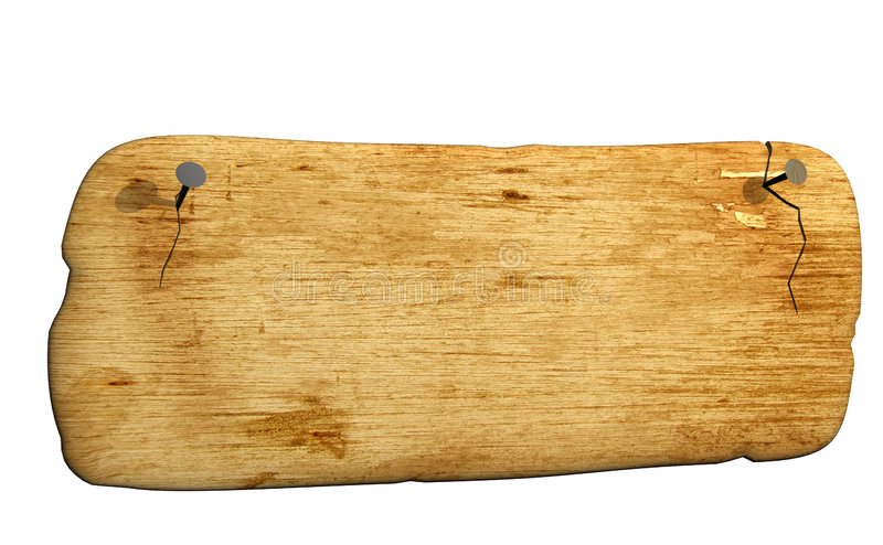 3d old bursted board, attached by nails stock illustration