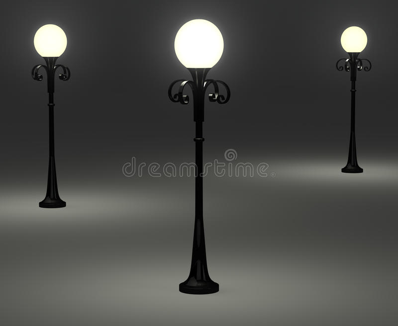 3d Old Fashioned Lamp Posts Stock Photography - Image: 19112492
