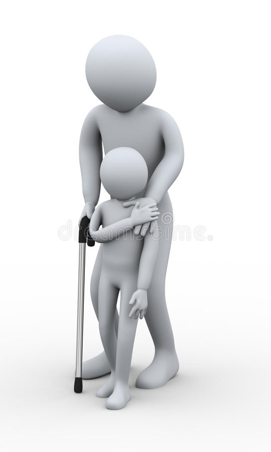 Download 3d old man and little boy stock illustration. Image of child - 27588885