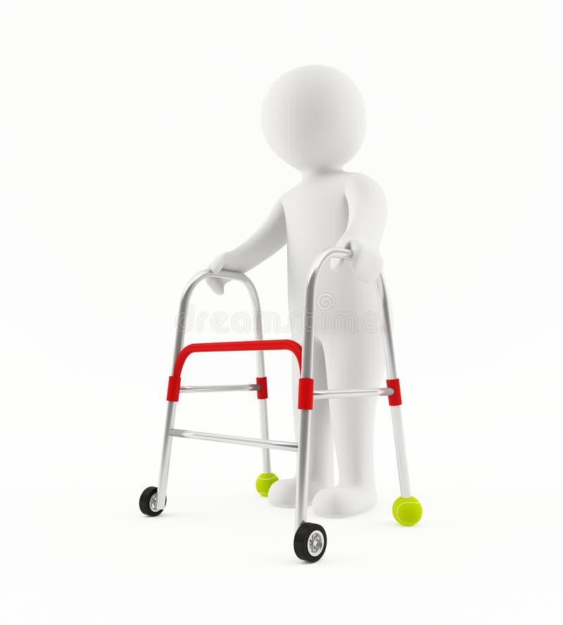 Download 3D old man with walker stock illustration. Image of biped - 25069065