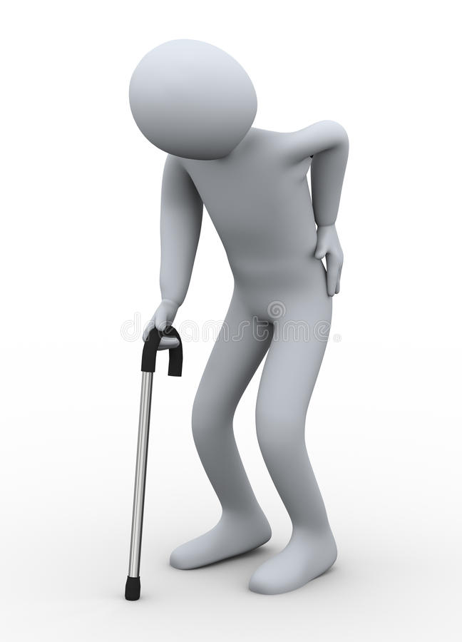 Download 3d Old Man Walking With Stick Stock Illustration - Image: 27589722