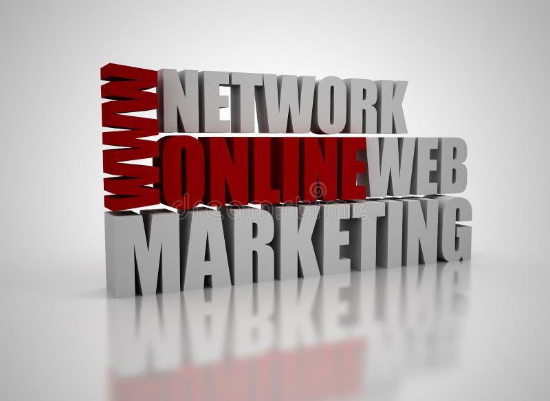3D online marketing related words vector illustration