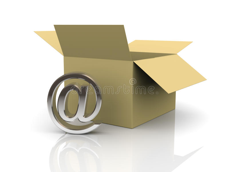 3d Open Box And Email Sign Royalty Free Stock Images