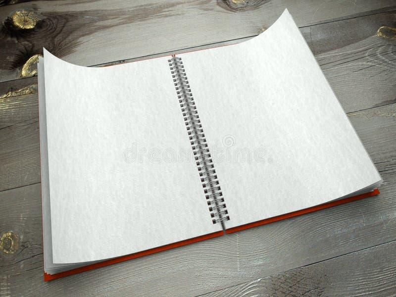 3d open leeg notitieboekje op bureaudocument textuur royalty-vrije stock fotografie