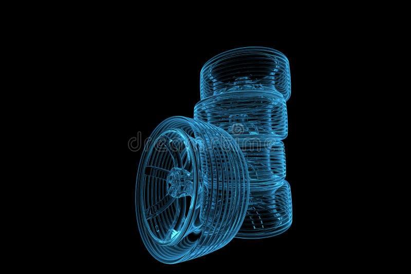 3d opony błękitny odpłacający się xray royalty ilustracja