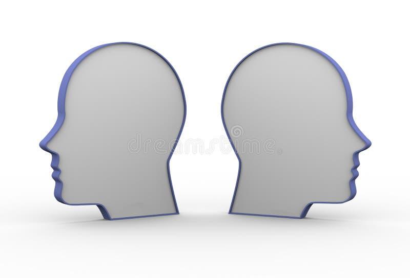 3d opposite human heads vector illustration