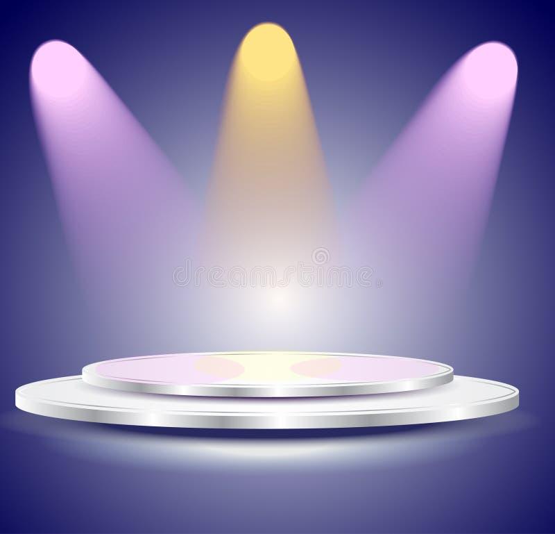 3d Opróżniają biały podium z koloru światłem ilustracji