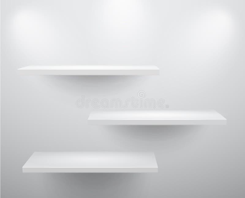 3d opróżniają eksponat odizolowywać półki ilustracja wektor