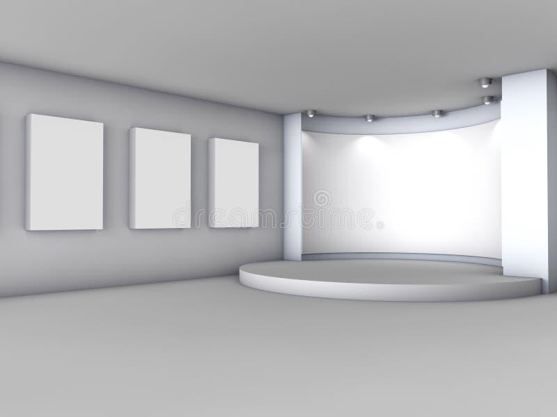 3d opróżniają niszę z pudełkami i światło reflektorów royalty ilustracja