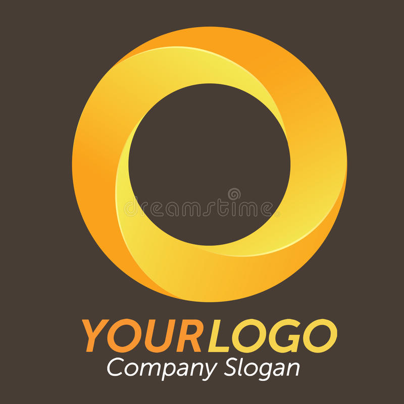 3D Orange Logo. Logo 3d circles, orange and yellow, vector illustration stock illustration