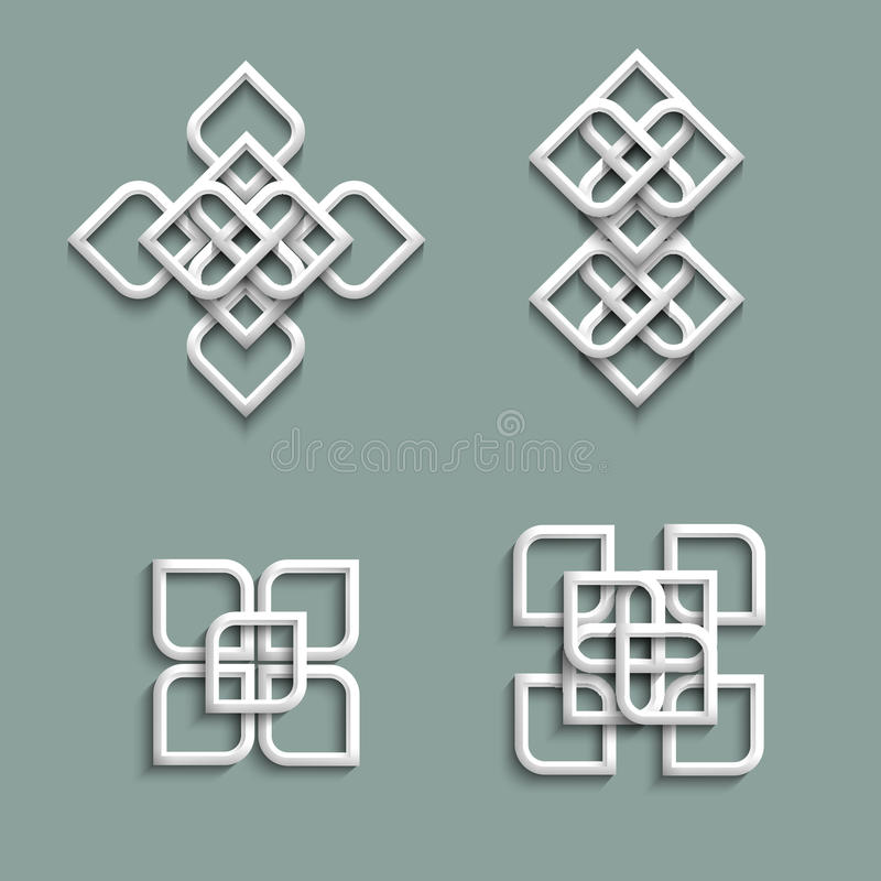 3d ornaments in arabic style stock illustration