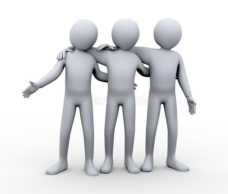 3d osoba życzliwa grupa ilustracji