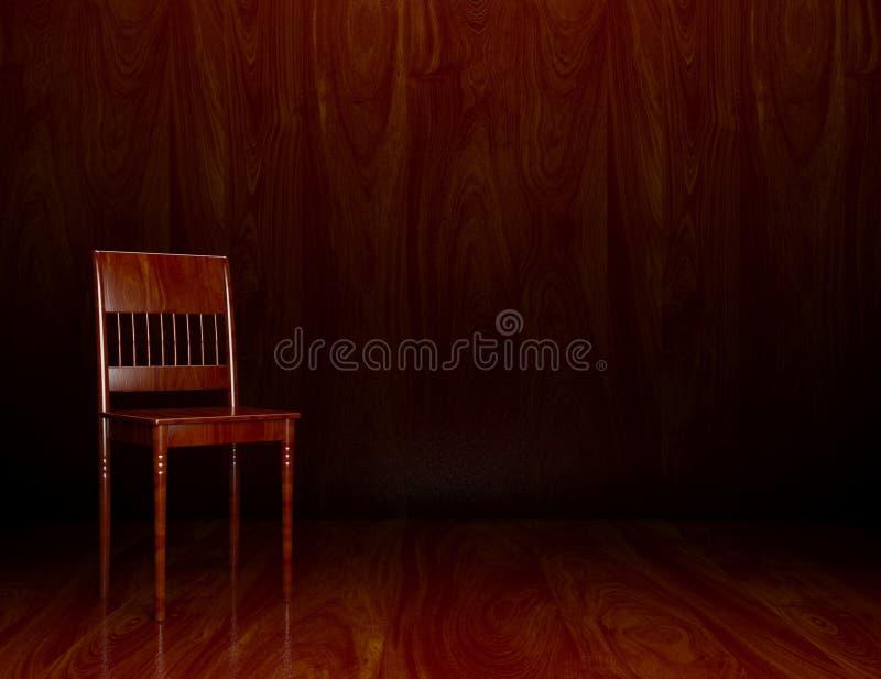 3d oude houten stoel in binnenland vector illustratie