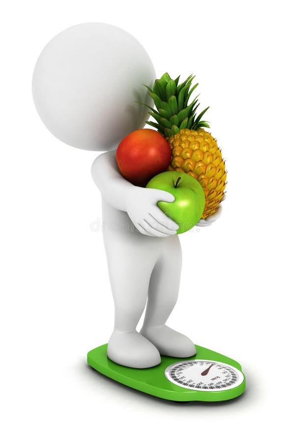 3d owoc diet biały ludzie ilustracja wektor