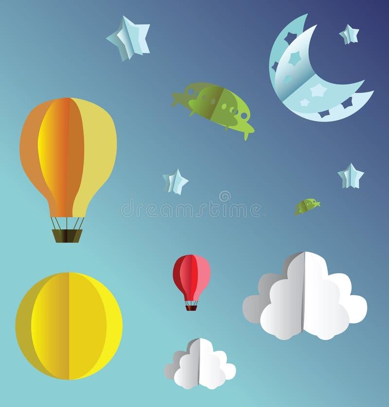 3d papierowi latający przedmioty ilustracji