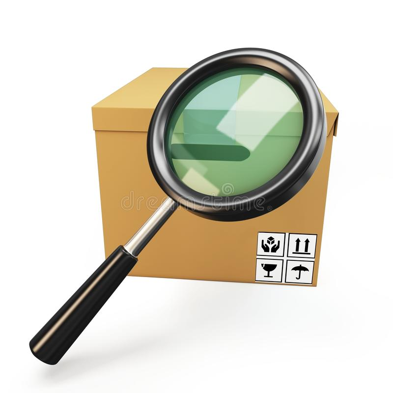 Download 3d Parcel Box With Magnifying Glass Stock Illustration - Image: 24474830
