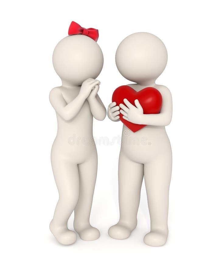 3d paren - Groot hart stock illustratie