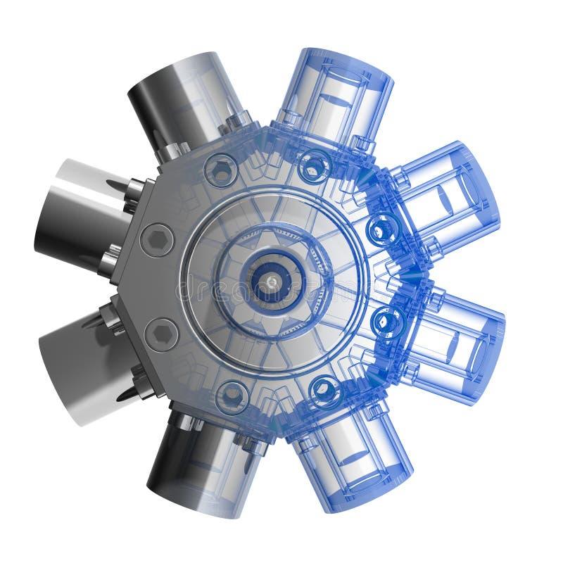 3d parowozowy rotarry xray ilustracji
