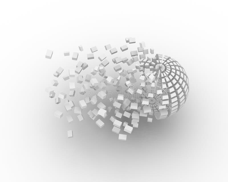 3d parts rekonstruktionspheren vektor illustrationer