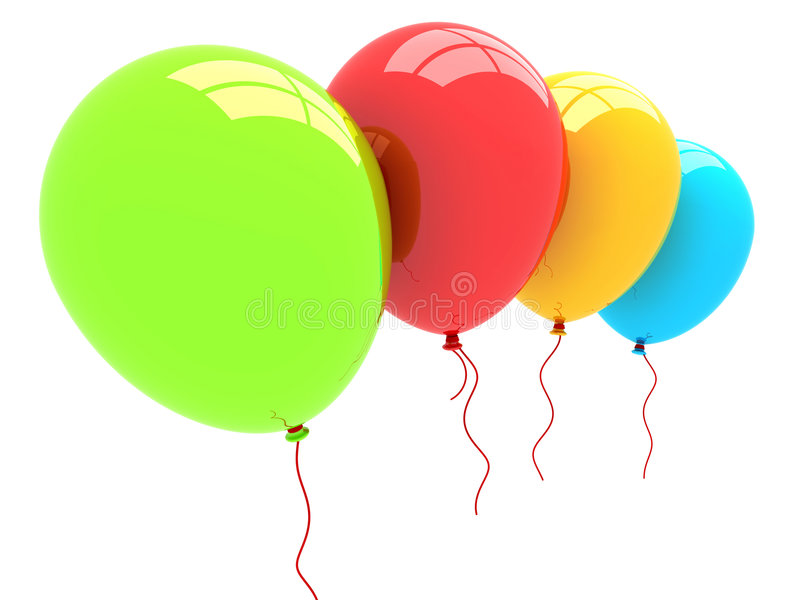 3D Party Balloons royalty free illustration
