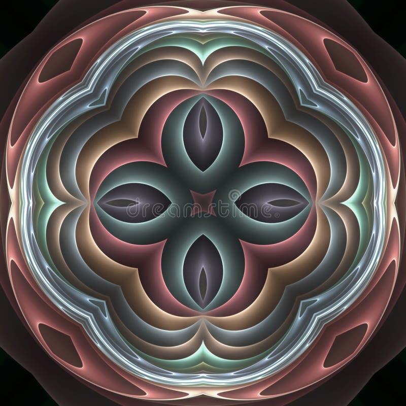 3d pastel fractal mandala vector illustration