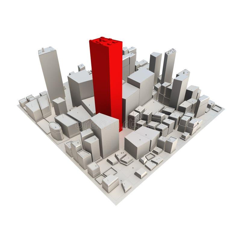 3d pejzaż miejski modela czerwieni drapacz chmur ilustracji
