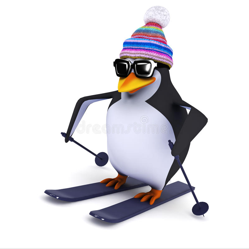 Free 3d Penguin Goes Skiing Royalty Free Stock Photo - 42496775