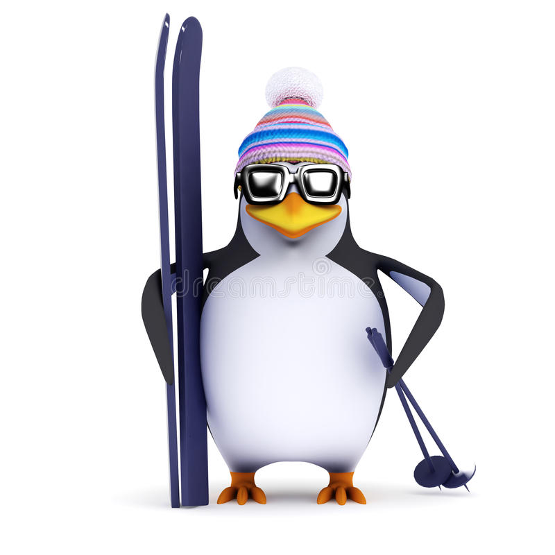 Free 3d Penguin Has His Skis Ready Stock Images - 46299164