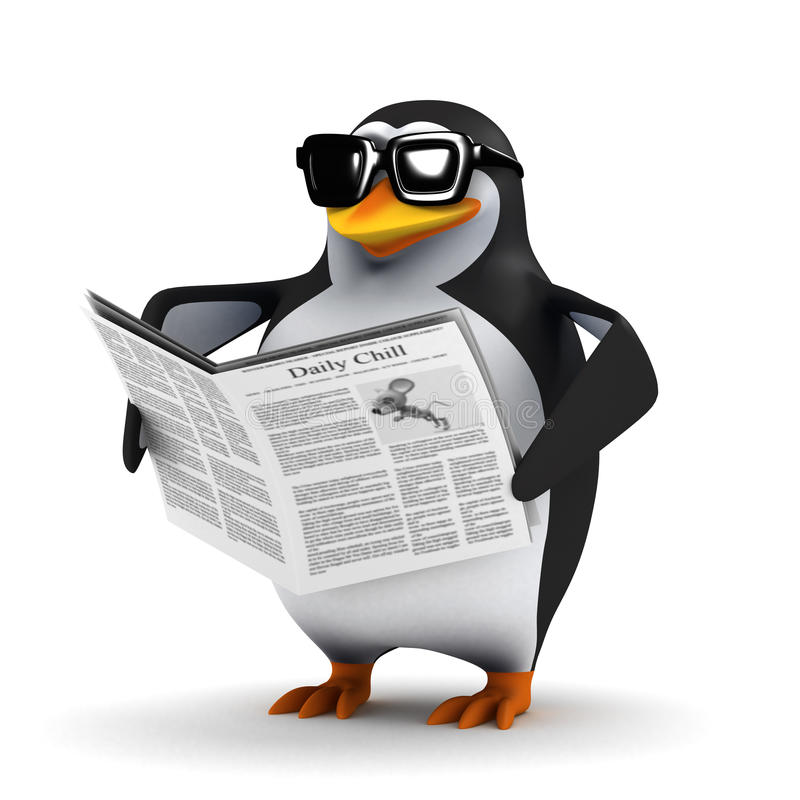 Free 3d Penguin Reading A Newspaper Royalty Free Stock Photos - 46594588