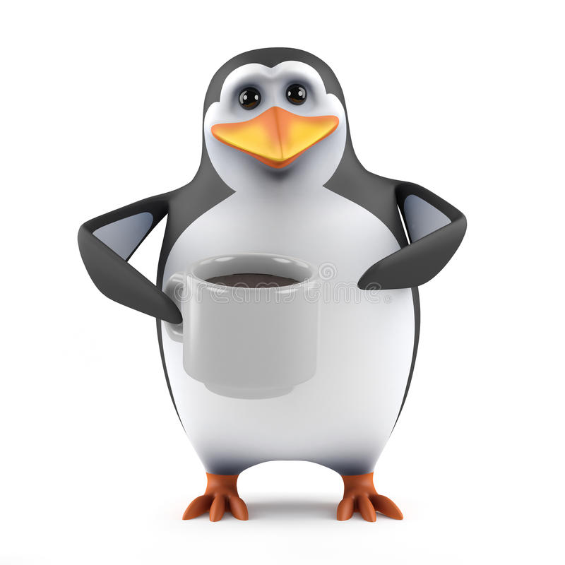 Free 3d Penguin Tea Break Royalty Free Stock Photo - 40159985