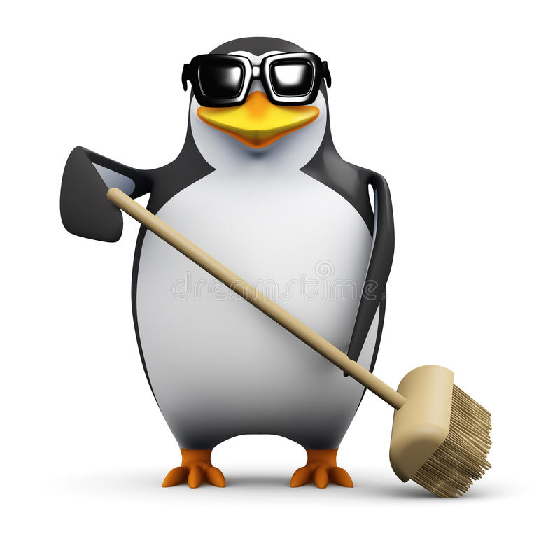 Free 3d Penguin Tidies Up Royalty Free Stock Images - 41841539