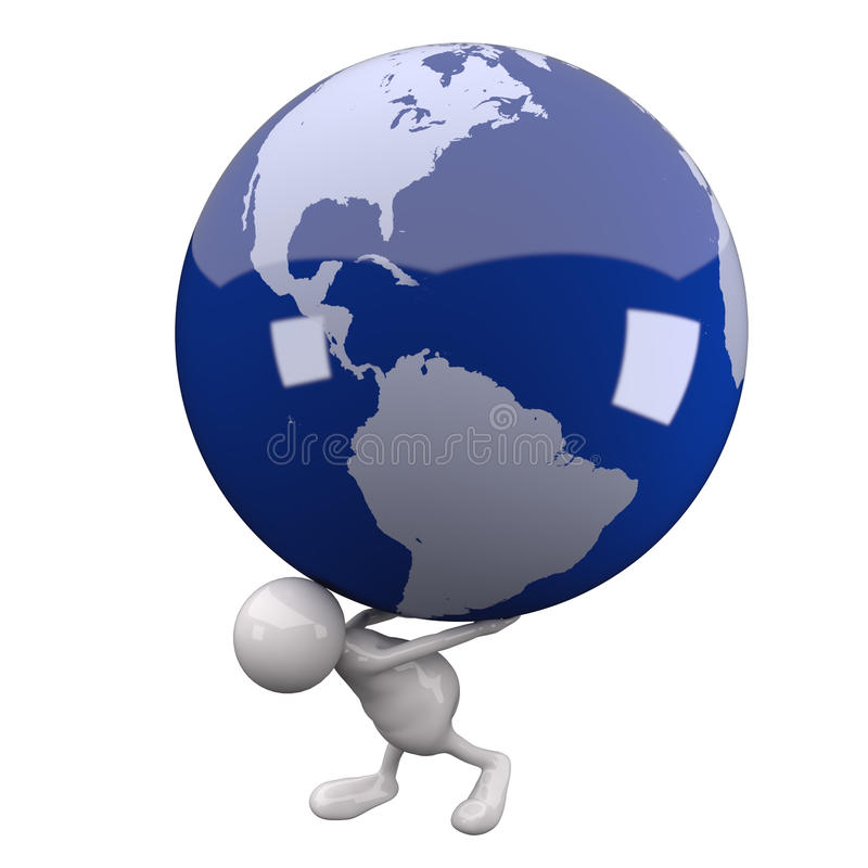 3D People Earth Globe on His Back. On White Background vector illustration