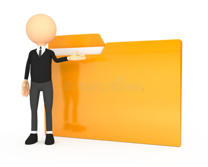 3d people - human character with folder. Computer generated royalty free illustration