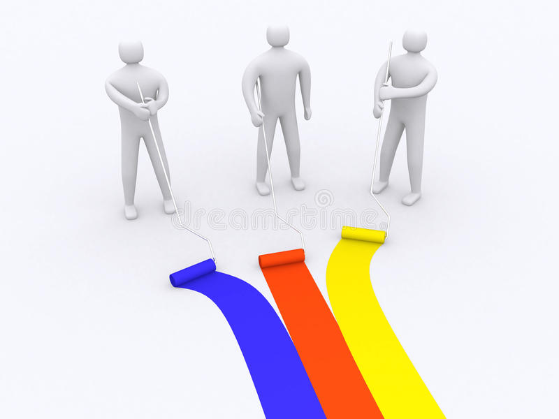 Download 3d People - Human Character With Roller Brush. Stock Illustration - Image: 20747660