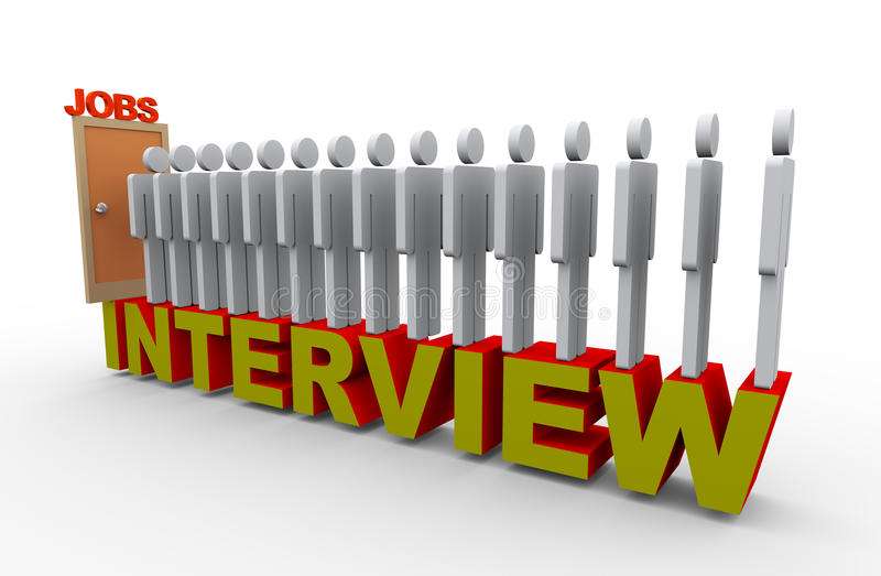 3d people job interview stock illustration