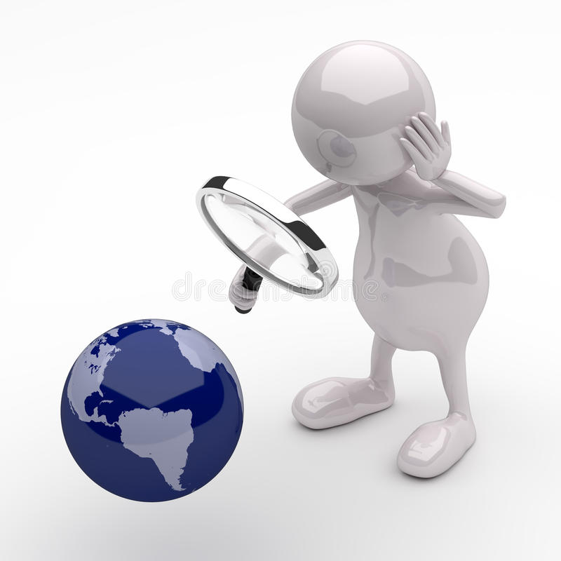 3D People with Magnifying Glass and Earth Globe stock illustration
